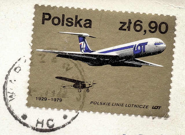 letadlo na známce
