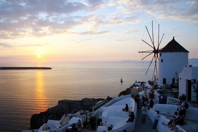 větrný mlýn na Santorini