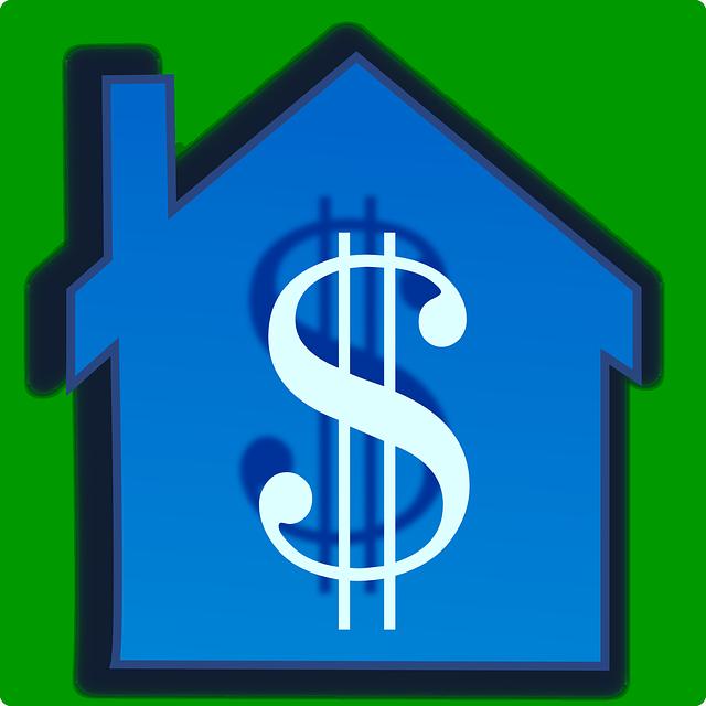 modrý dům se symbolem dolaru